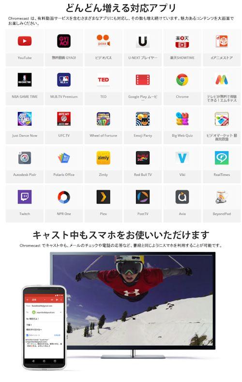 Chromecast 「クロームキャスト」対応アプリ