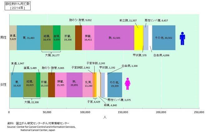 日本人の男女のなりやすい部位